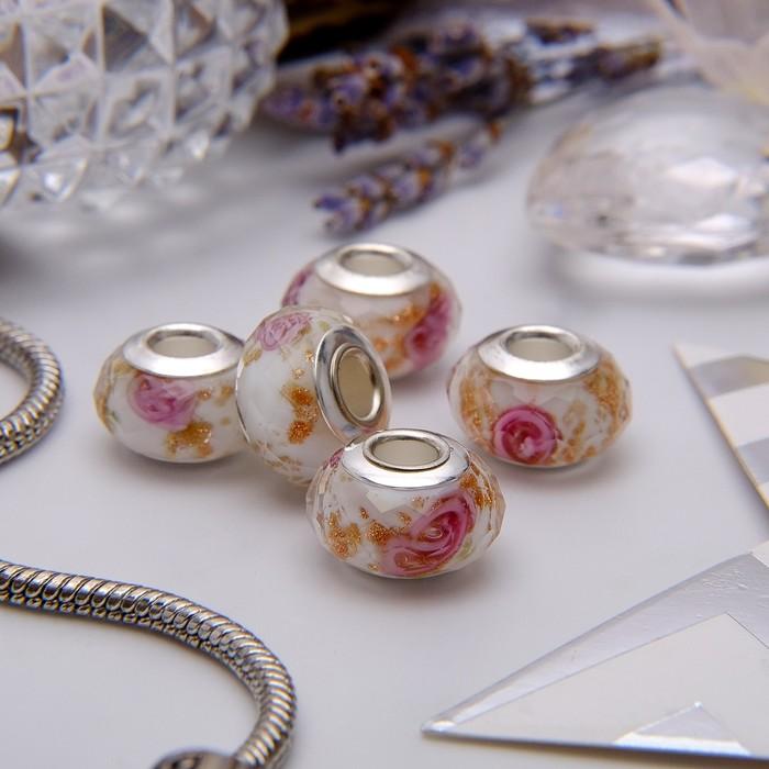 """Бусина """"Цветы"""" розы в золоте, цвет бело-розовый в серебре"""