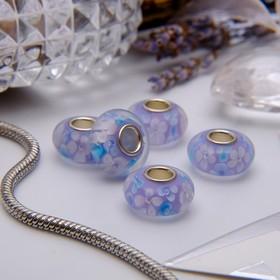Бусина 'Цветы' черёмухи, цвет бело-голубой в серебре Ош