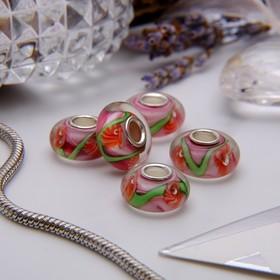 Бусина 'Цветы' одуванчики, цвет бело-розовый Ош