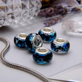 Бусина 'Чернила', цвет бело-голубой в серебре Ош