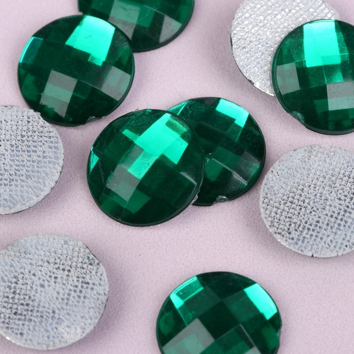 Стразы термоклеевые «Круг», d = 14 мм, 10 шт, цвет зелёный