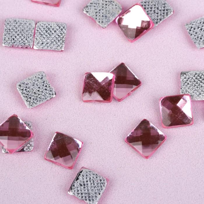 Стразы термоклеевые «Квадрат», 6 × 6 мм, 100 шт, цвет розовый