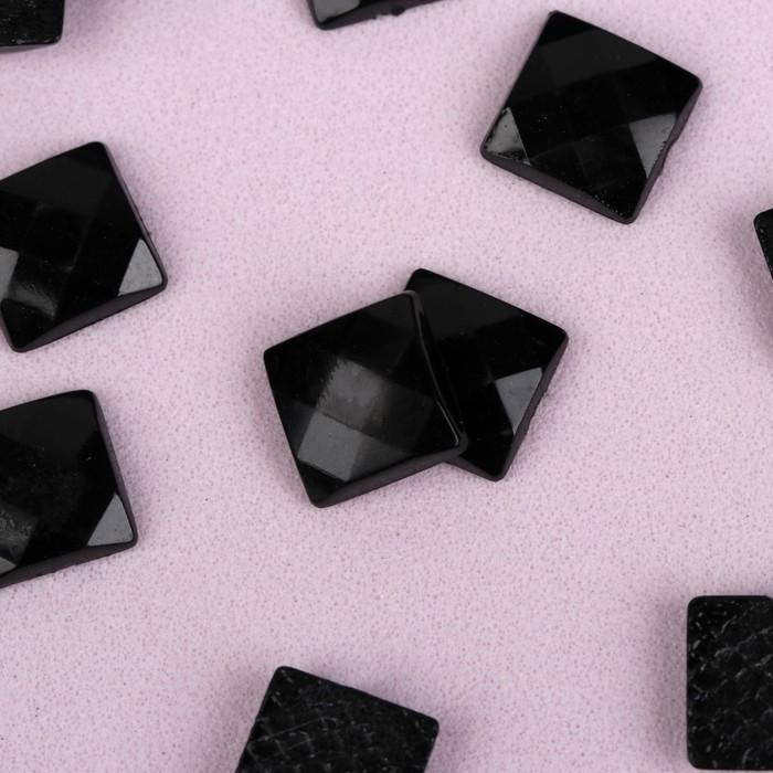 Стразы термоклеевые «Квадрат», 8 × 8 мм, 50 шт, цвет чёрный