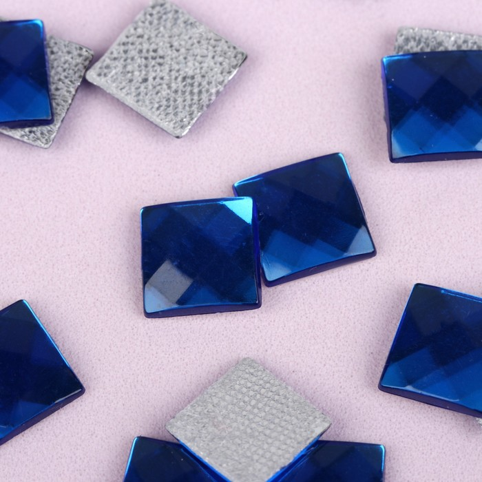 Стразы термоклеевые «Квадрат», 10 × 10 мм, 20 шт, цвет синий