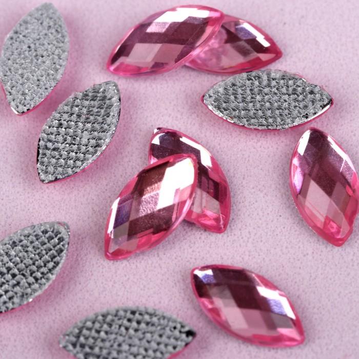 Стразы термоклеевые «Лепесток», 5 × 10 мм, 100 шт, цвет розовый