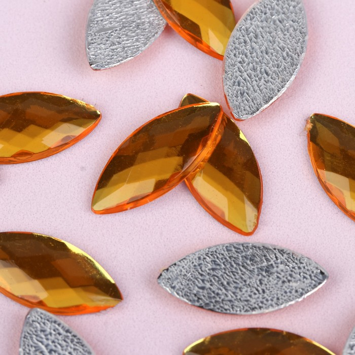 Стразы термоклеевые «Лепесток», 9 × 20 мм, 20 шт, цвет жёлтый