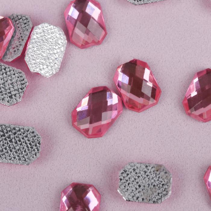 Стразы термоклеевые «Прямоугольник», 6 × 8 мм, 50 шт, цвет розовый