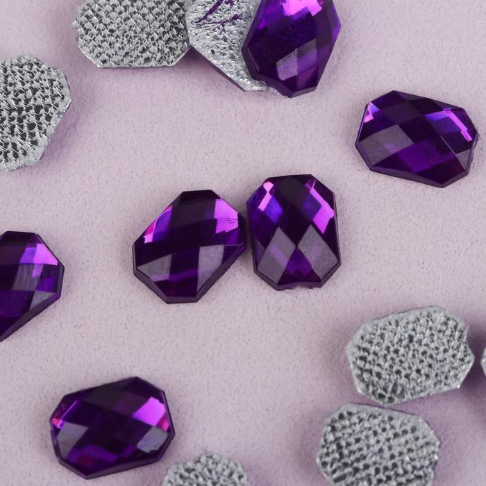 Стразы термоклеевые «Прямоугольник», 6 × 8 мм, 50 шт, цвет фиолетовый