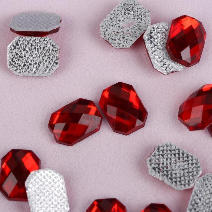 Стразы термоклеевые «Прямоугольник», 6 × 8 мм, 50 шт, цвет красный