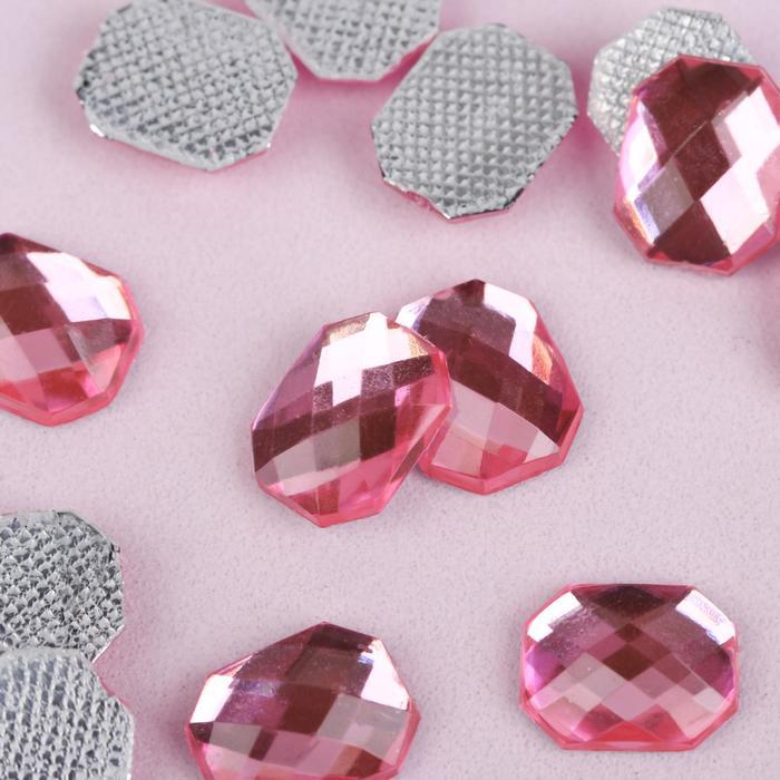Стразы термоклеевые «Прямоугольник», 8 × 10 мм, 50 шт, цвет розовый