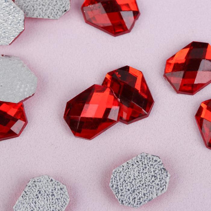 Стразы термоклеевые «Прямоугольник», 8 × 10 мм, 50 шт, цвет красный