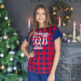 Футболка женская KAFTAN 'Hello winter' красн., р-р 40-42, 100% хл Ош