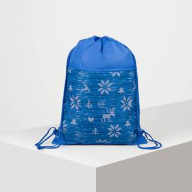 Мешок для обуви, отдел на шнурке, наружный карман на молнии, цвет голубой