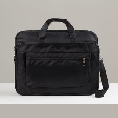 Сумка деловая, 2 отдела на молниях, 3 наружных кармана, длинная стропа, цвет чёрный - Фото 1