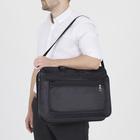 Сумка деловая, 2 отдела на молниях, 3 наружных кармана, длинная стропа, цвет чёрный - Фото 5