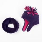 Комплект (шапка и шарф-снуд), фиолетовый, 1,5-2 года, размер 51 см