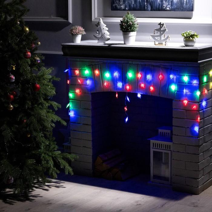 """Гирлянда """"Бахрома"""" 1.8 х 0.5 м с насадками """"Звёзды"""", IP20, прозрачная нить, 48 LED, свечение RG/RB, мигание, 220 В"""
