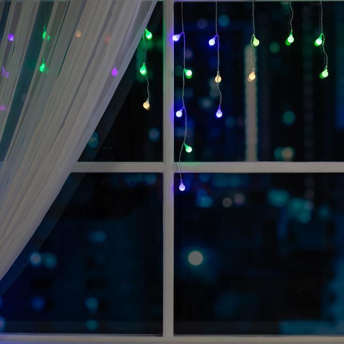 """Гирлянда """"Бахрома"""" 3 х 0.5 м с насадками """"Шарики"""", IP20, прозрачная нить, 80 LED, свечение RG/RB, мигание, 220 В"""