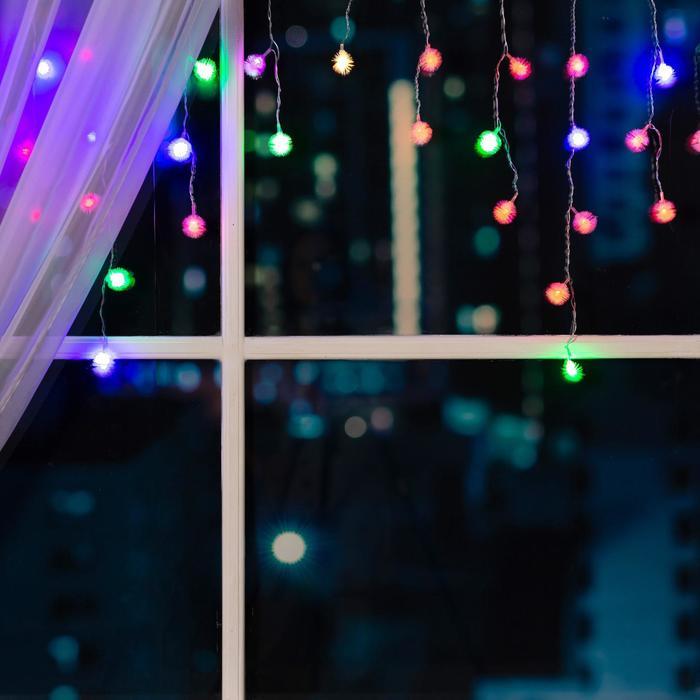 """Гирлянда """"Бахрома"""" 3 х 0.5 м с насадками """"Ёжики"""", IP20, прозрачная нить, 80 LED, свечение RG/RB, мигание, 220 В"""