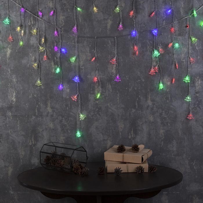 """Гирлянда """"Бахрома"""" 3 х 0.5 м с насадками """"Ёлки и снежинки"""", IP20, прозрачная нить, 80 LED, свечение RG/RB, мигание, 220 В"""