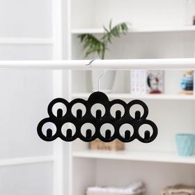Вешалка для ремней и галстуков Доляна, 11 крючков, флокированное покрытие, 30,5×20,5 см, цвет чёрный