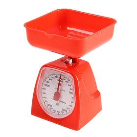 Весы кухонные LuazON LVKM-501, механические, до 5 кг, чаша 1200 мл, красные Ош