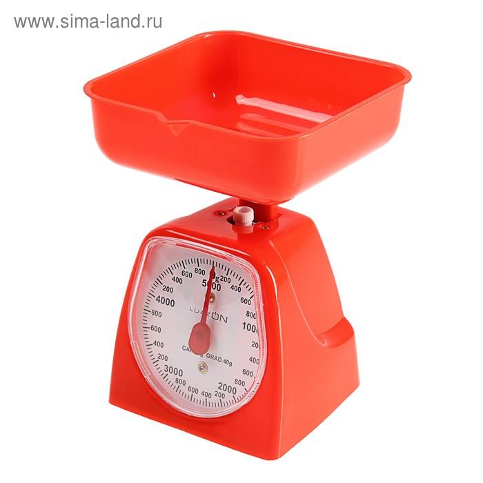 Весы кухонные LuazON LVKM-501, механические, до 5 кг, чаша 1200 мл, красные