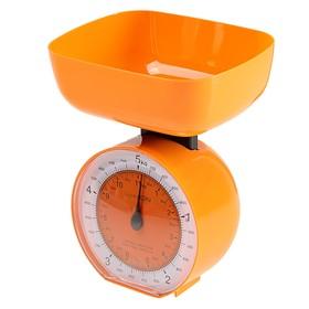 Весы кухонные LuazON LVKM-503, механические, до 5 кг, чаша 1000 мл, оранжевые Ош