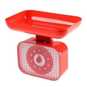 Весы кухонные LuazON LVKM-1001, механические, до 10 кг, чаша 1200 мл, красные Ош