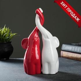 """Фигура """"Пара слонов"""" белый/красный глянец 10х18х28см"""