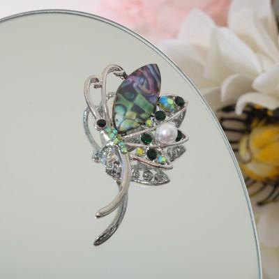 """Брошь """"Бабочка"""" мотылек, цветная в серебре"""