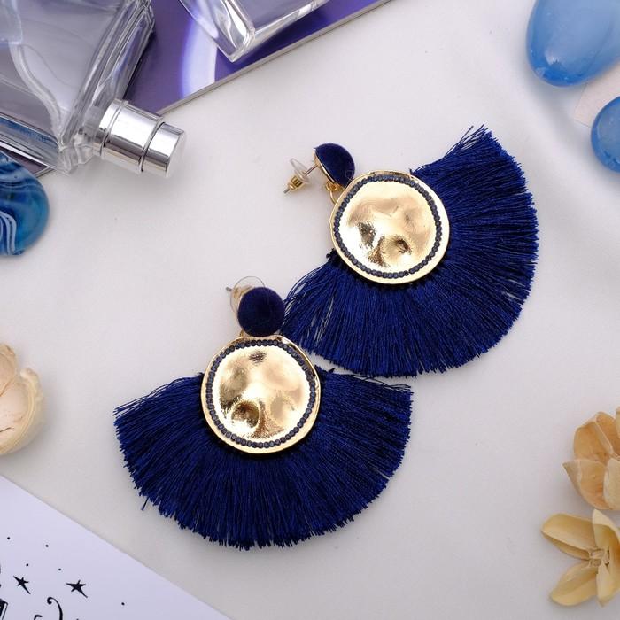 Серьги Кисти арабика, цвет синий в золоте