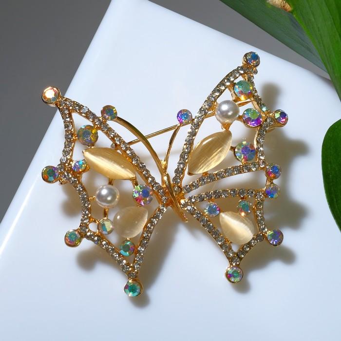"""Брошь """"Бабочка"""" перламутровка, цвет радужный в золоте"""