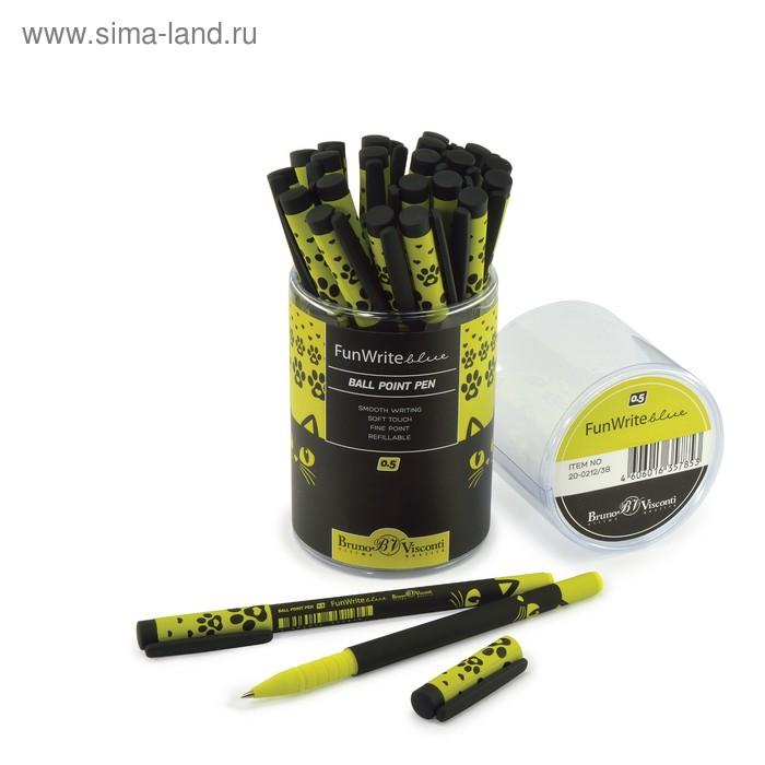 """Ручка шариковая FunWrite """"Чёрный кот"""", узел 0.5 мм, стержень синий"""