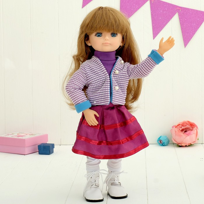 Кукла интерактивная шарнирная «Алиса» с аксессуарами и микрофоном, мимика лица, отвечает на голосовые команды, высота 48см