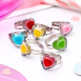 Кольцо детское 'Выбражулька' акварель, сердце, цвет МИКС, безразмерное Ош