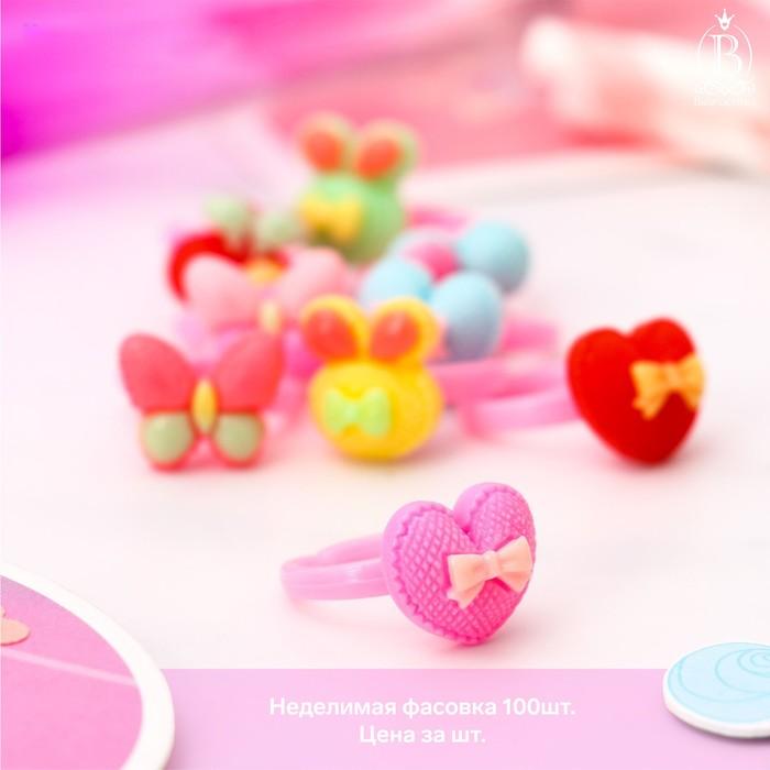 Кольцо детское Выбражулька ассорти с бантиками, форма МИКС, цвет МИКС