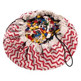 Игровой коврик-мешок для хранения игрушек 2 в 1 Play&Go, коллекция Print, «Красный зигзаг»