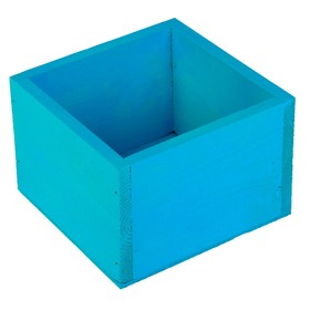 Кашпо деревянное 14.5×12.5×9 см Элегант, голубой Дарим Красиво Ош