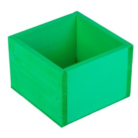 Кашпо деревянное 14.5×12.5×9 см Элегант, зелёный Дарим Красиво Ош