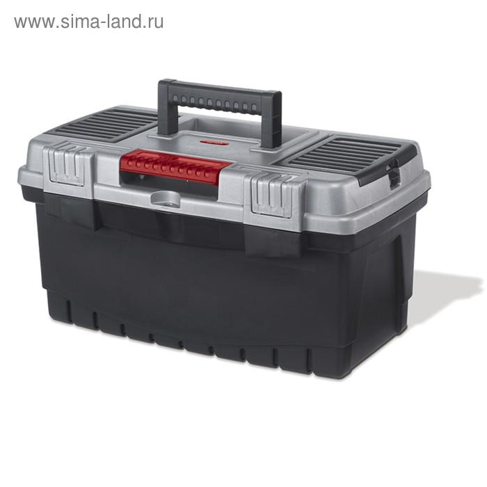 """Ящик для инструментов Hammer, 19"""", металлический замок, чёрно-серый"""