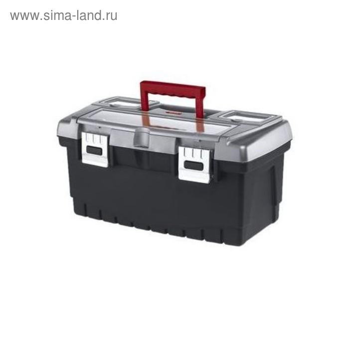 """Ящик для инструментов Hammer, 16"""", металлический замок, чёрно-серый"""