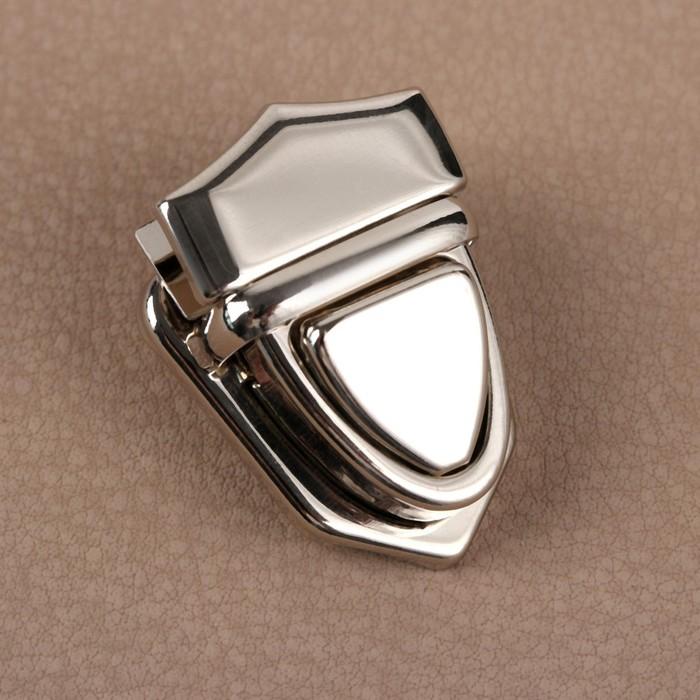 Застёжка для сумки, 3 × 2,5 см, цвет серебряный