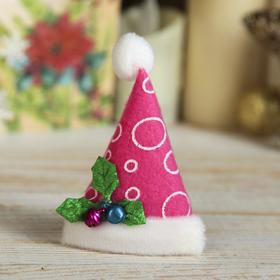 Магнит 'Новогодний колпак с ягодками' 8*6 см розовый Ош