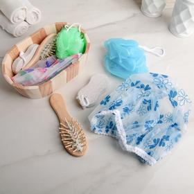 Набор банный, 4 предмета: расчёска, мочалка, пемза, шапочка для душа, цвет МИКС Ош