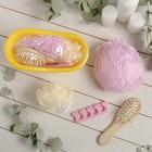 Набор банный, 4 предмета: расчёска, мочалка, спонж для педикюра, шапочка для душа, цвет МИКС