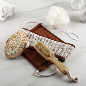 Набор банный, 4 предмета: щётка с пемзой, 2 мочалки, массажёр, цвет МИКС Ош
