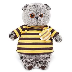 Мягкая игрушка «Басик» в полосатой футболке с пчелой, 19 см