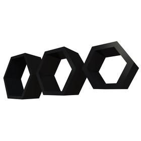 Комплект полок «Москва», 30 × 26 × 10 см, 24 × 21 × 10 см, 18 × 15,5 × 10 см, цвет чёрные