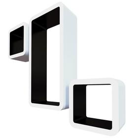 Комплект полок «Рио», 42,5 × 21 × 10 см, 17 × 17 × 10 см, 17 × 17 × 10 см, цвет белый/чёрный